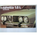 ALFA ROMEO ALFETTA 1.8 L SEDAN BROCHURE fold-out full colour (401.Alfa Doc7510C340A)