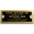 "Ford T Holley NH Data Plate ""FORD MOTOR CO."" 1923-26 (900.MT6200D)"