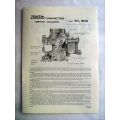 Carburettor Data Sheets